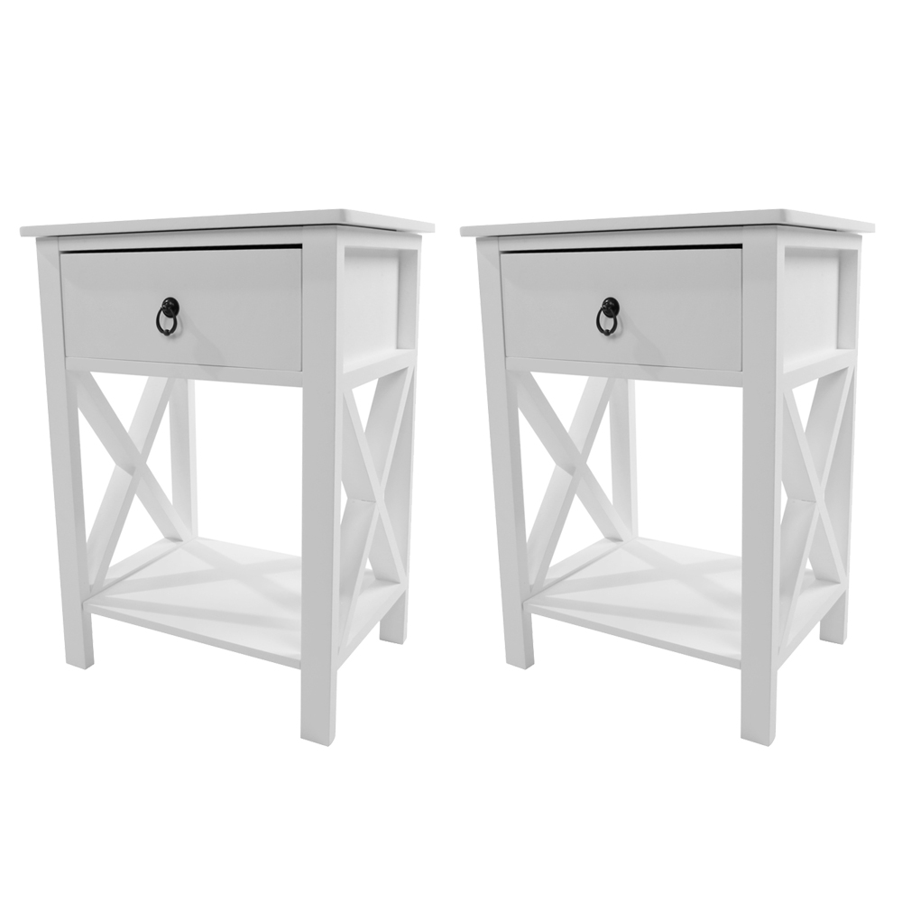 2 PCS Wood End Side Bedside Table Nightstand Bedroom W
