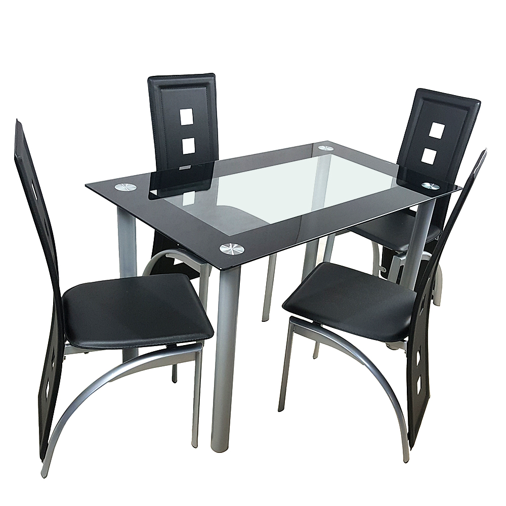5 Chair Dining Set: 5 Piece Dining Set Glass Top Table And 4 Leather Chair For