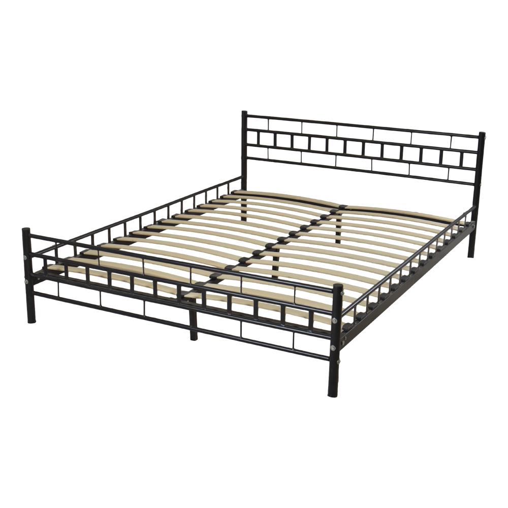 metal bed frame wood slats platform headboard footboard bedroom furniture queen ebay. Black Bedroom Furniture Sets. Home Design Ideas