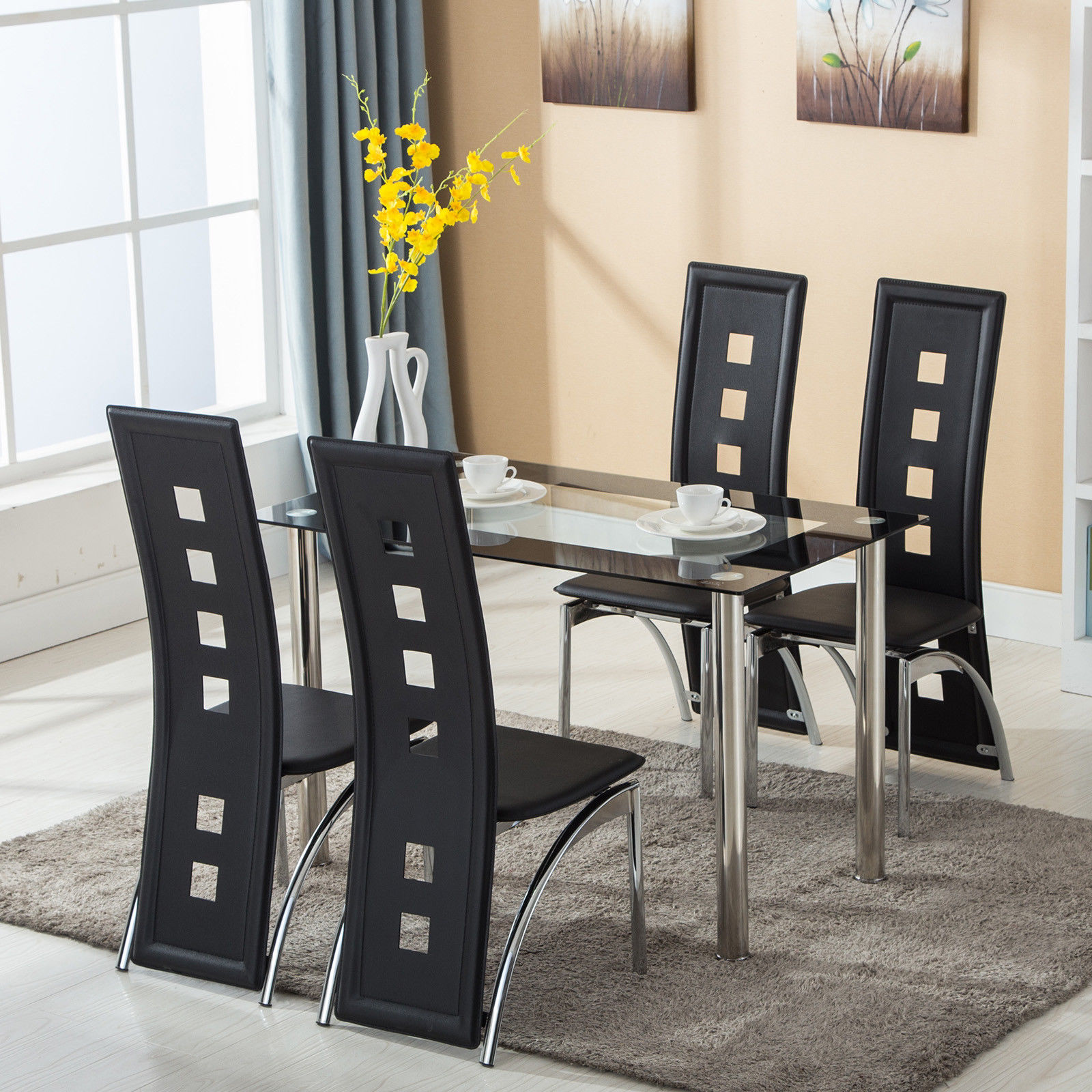 Saddle Brown Round Table And 4 Kitchen Chairs 5 Piece: 5 Piece Dining Set Glass Top Table And 4 Leather Chair For