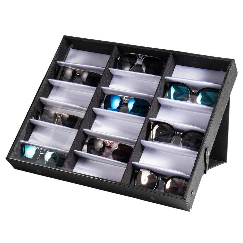 2a90f8c6ebcc0 18 Slot Eyeglass Sunglasses Glasses Storage Display Grid Stand Case Box  Holder