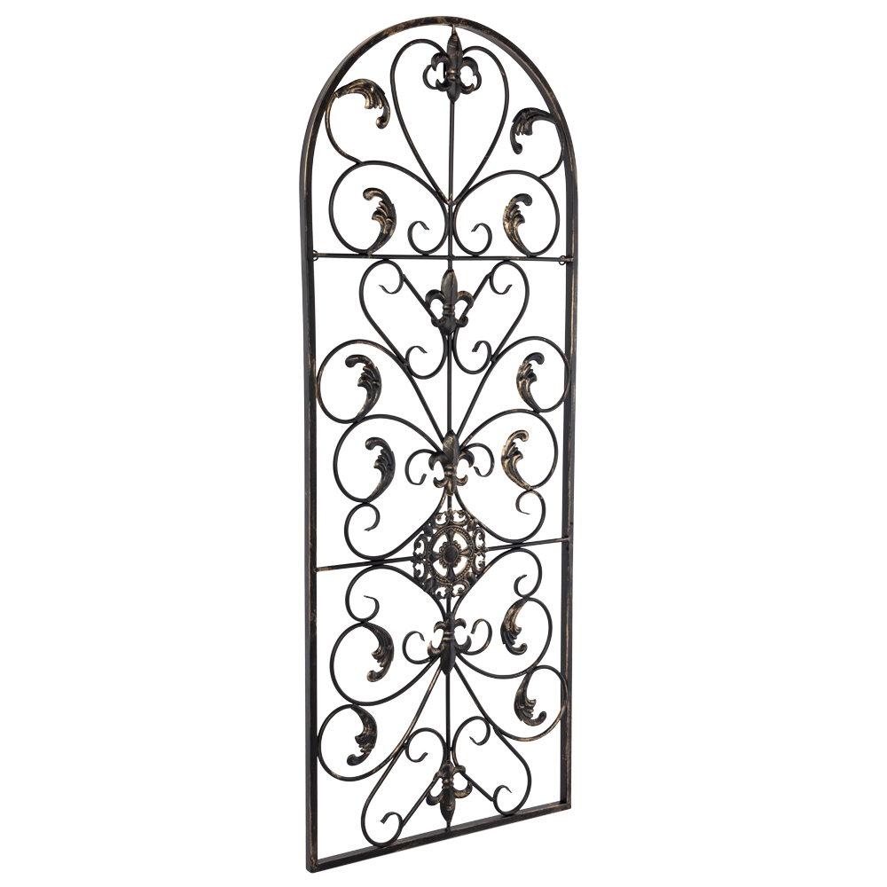 Details About Arched Wrought Iron Wall Art Sculpture Vintage Tuscan Indoor Outdoor Gate Decor