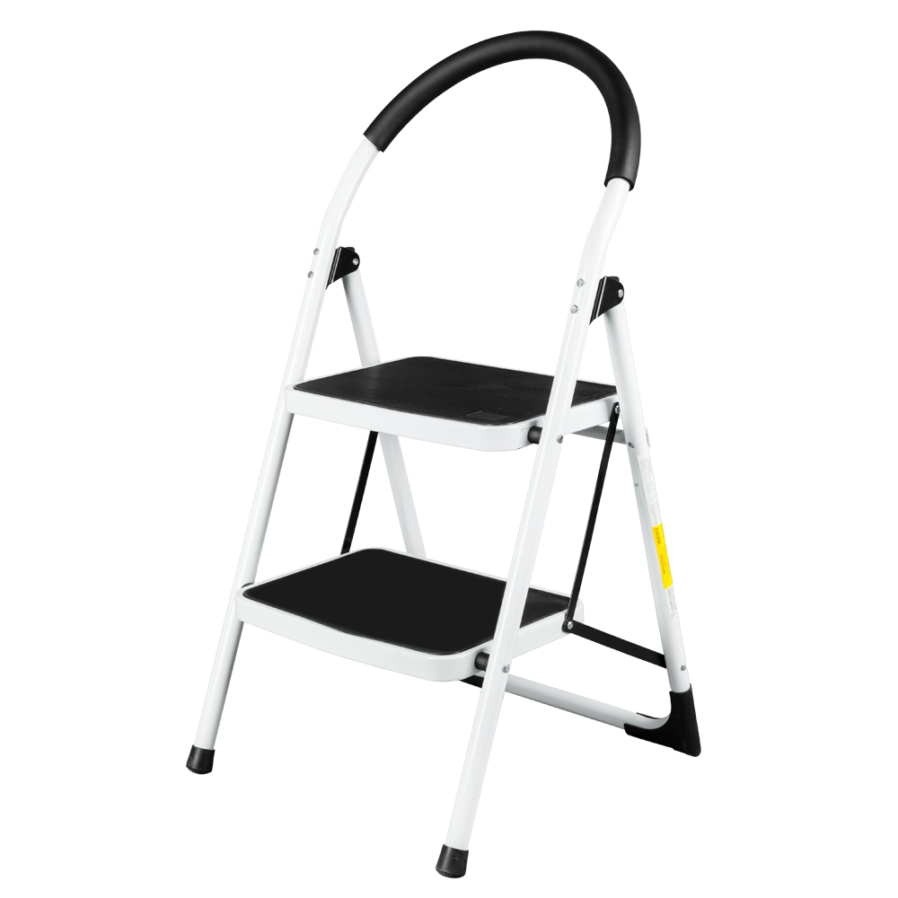New 2 Step Aluminum Ladder Folding Platform Stool 330 Lbs Capacity White Black