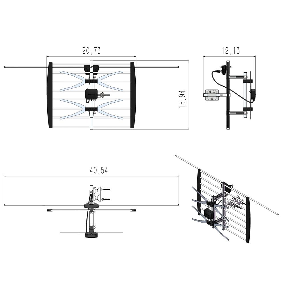 200mile 1080p outdoor amplifier hdtv digital tv antenna long range   pole sliver