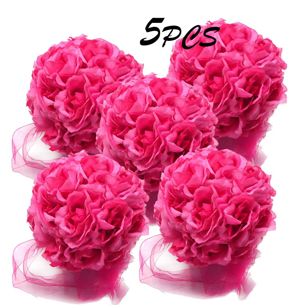 New Flower Balls Satin Wedding Ceremony Decoration 5in Dark Pink ...